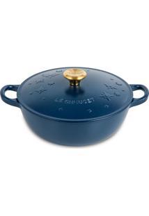 Panela Marmita Star 22 Cm Pegador Gold Azul Matte Collection Indigo Le Creuset