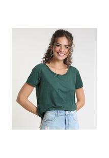 Blusa Feminina Em Suede Manga Curta Decote Redondo Verde