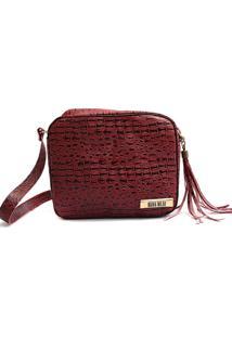 Bolsa Transversal Maria Milão Mini Bag Crocô Vermelha
