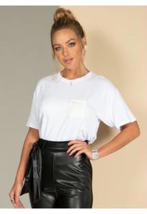 Blusa Soltinha Branca Com Detalhes De Strass