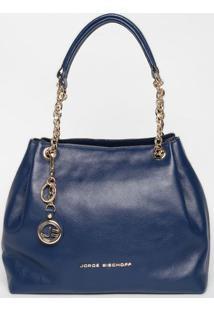 Bolsa Em Couro Com Correntes - Azul Marinho- 23X45X1Jorge Bischoff