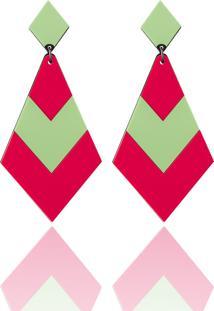 Brinco Una Donna Collection Losango Verde E Rosa