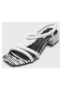 Sandália Dumond Zebra Branca/Preta