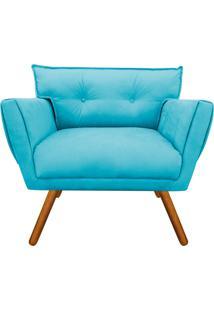 Poltrona Decorativa Anitta Suede Azul Tiffany - D'Rossi - Tricae
