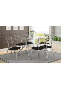Mesa 387 Com Vidro Incolor Cromada Com 6 Cadeiras 1700 Preta Carraro