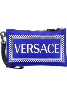 Versace Clutch Com Estampa De Logo - Azul