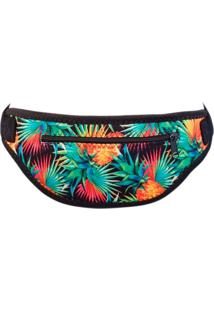 Pochete Banana Rosa New Fit Running Tropical Abacaxi Verde