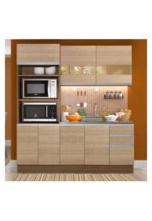 Cozinha Compacta Madesa Lorena 7 Portas 3 Gavetas (Sem Tampo E Pia) Marrom