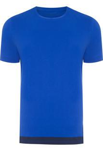 Camiseta Masculina Com Estampa Na Barra - Azul
