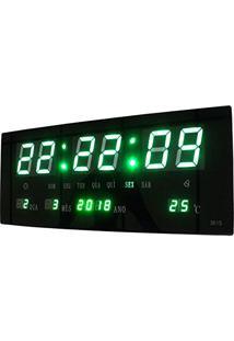 267a342b3dd Relogio De Parede Led Verde Digital Alarme Data Termo (Bsl-Rel-58)