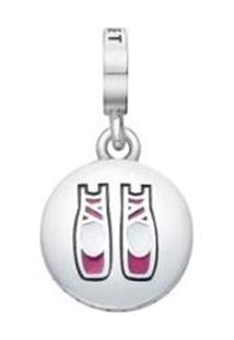 Pingente Ballet Banhado Á Rã³Dio- Prata & Pink- 1X1Cmvivara