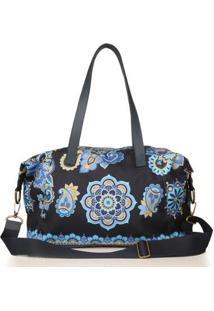 Bolsa Sacola Blue Bags Estampa Mandala Feminina - Feminino-Azul