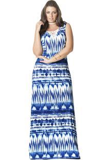Vestido Longo Plus Size Viscolycra Azul Decote Renda