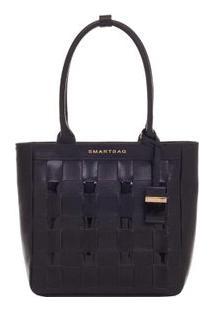 Bolsa Smart Bag Couro Verniz Trançado Tiracolo - Feminino-Preto