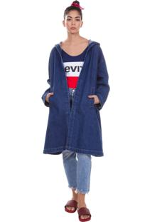 Jaqueta Levis Feminina Long Com Capuz Azul Médio Azul