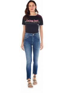 T-Shirt Zinco Decote Redondo Com Silk Preto