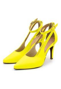 Sandália Sapato Scarpin Anna Andrade Aberto Com Tiras Neon Amarelo