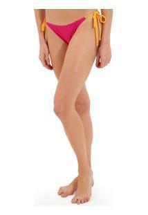 Calcinha Rosa Chá Basic Canelado Bicolor Beachwear Amarelo Rosa Feminina Calcinha Basic Bicolor-Amarelo/Rosa-G