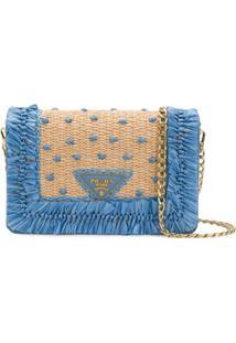 Prada Bolsa Clutch Com Logo Frontal - Azul