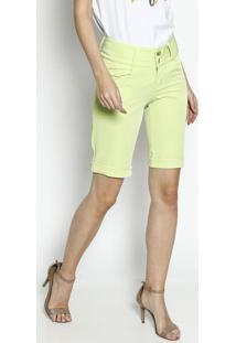 Bermuda Em Sarja Com Pespontos- Verde Limão- Dress Tênfase
