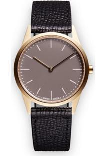 Uniform Wares Relógio 'C33 Two-Hand' De Couro E Aço Inoxidável - Preto