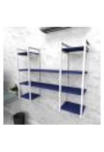 Estante Industrial Escritório Aço Cor Branco 120X30X98Cm (C)X(L)X(A) Cor Mdf Azul Modelo Ind50Azes