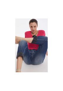 Calça Iodice Boyfriend Cós Intermediário Com Puídos Jeans