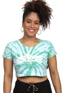 Camiseta Cropped Kings Sneakers Tie Dye Verde - G - Kanui