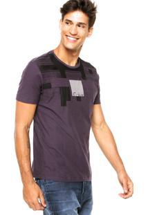 Camiseta Manga Curta Calvin Klein Jeans Estampada Roxa
