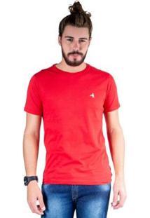 Camiseta Hipica Polo Club Gola Careca Bordado Cavalo Masculina - Masculino-Vermelho