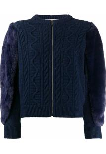 Stella Mccartney Fur Free Fur Cable-Knit Jacket - Azul
