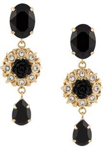 Dolce & Gabbana Par De Brincos Com Pingente De Rosa - Dourado