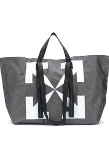 Off-White Arrow Pvc Tote Black White - Preto