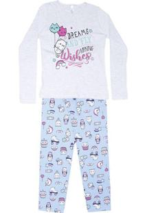 Pijama ''Dreams And Floyd'' - Cinza Claro & Azul - Mmalwee