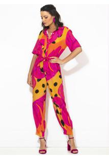 Macacão Camisa Bacanaju Rosa