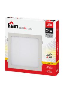 Luminária De Embutir Kian Quadrado Led Slim G2 Alt: 2Cm Comp.: 29,3Cm Larg: 29,3Cm 24W 3000K Amarela.
