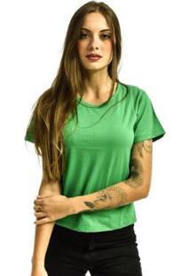 Camiseta Rich Baby Look Básica Lisa Feminina - Feminino-Verde