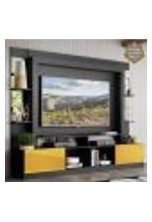 """Rack C/ Painel E Suporte Tv 65"""" Prateleiras C/ Espelho Oslo Multimóveis Preto/Amarelo"""
