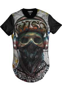 Camiseta Di Nuevo Longline Skull Rapper Caveira Monster Hiphop Preta