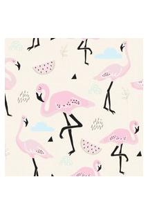 Papel De Parede Flamingo Rosa Para Quarto De Menina 57X270Cm