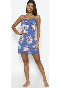 Camisola Floral Com Renda Com Lycra®- Azul & Rosafruit De La Passion