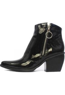 Bota Damannu Shoes Verniz Naomi Feminina - Feminino-Preto