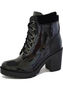 Bota Casual Tratorada Em Verniz Ec Shoes Preto