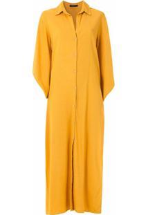 Esc Vestido Midi Chemise De Linho - Amarelo