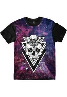 Camiseta Bsc Galáxia Caveira Borboleta Lua Sublimada - Masculino