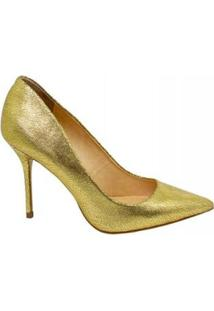 Scarpin Salto Alto Bico Fino Marjorie Feminino - Feminino-Dourado