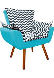 Poltrona Decorativa Opala Suede Composê Estampado Zig Zag Azul D02 E Suede Azul Tiffany - D'Rossi