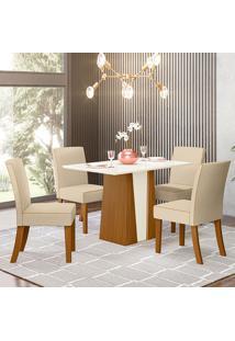 Conjunto De Mesa Com 4 Cadeiras Para Sala De Jantar Lisboa-Henn - Nature / Off White / Linho