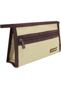 Nécessaire Envelope- Bege Claro & Marrom Escuro- 13,Jacki Design