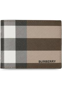 Burberry Carteira Xadrez De Canvas - Marrom